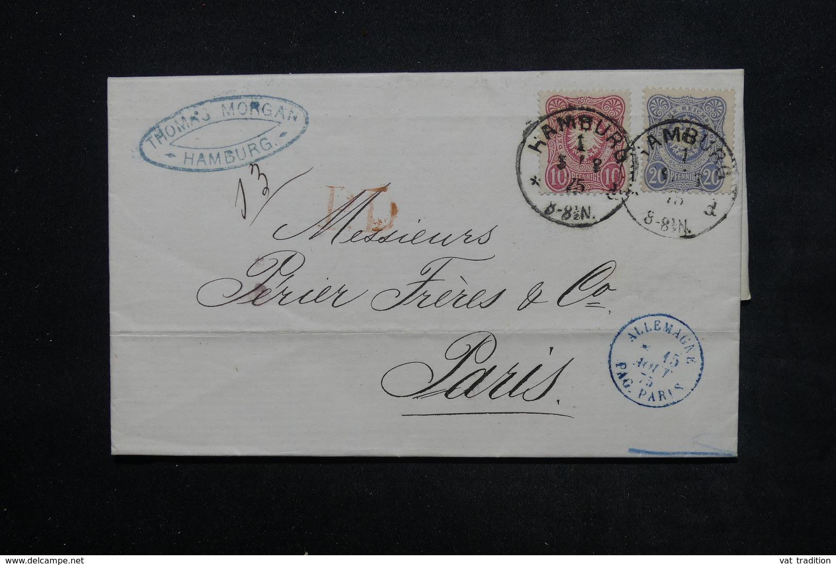 ALLEMAGNE - Lettre De Hamburg Pour La France En 1875 , Affranchissement Bicolore - L 23924 - Germany