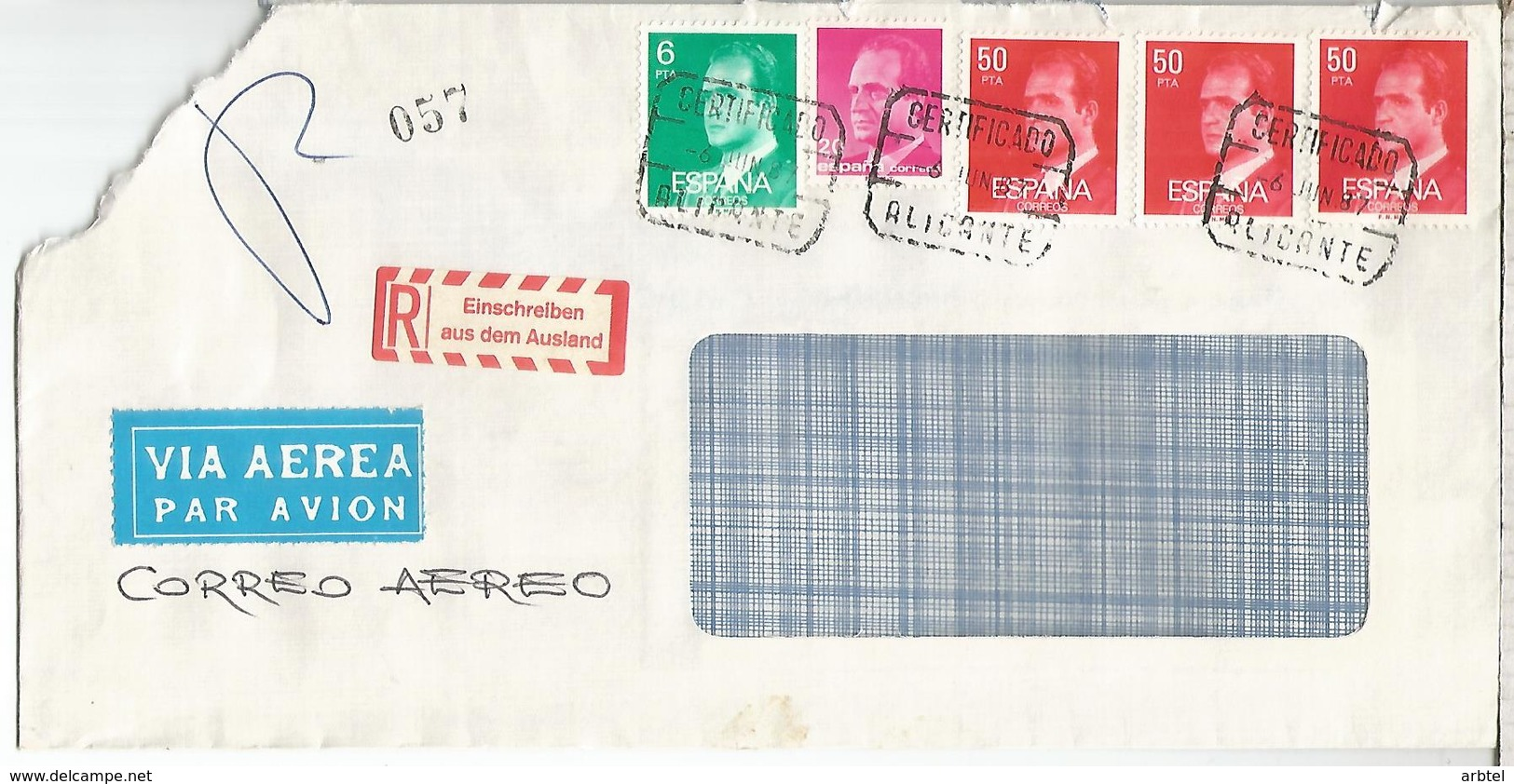 ALICANTE CC CERTIFICADA SELLOS BASICA ESQUINA ROTA - 1981-90 Cartas