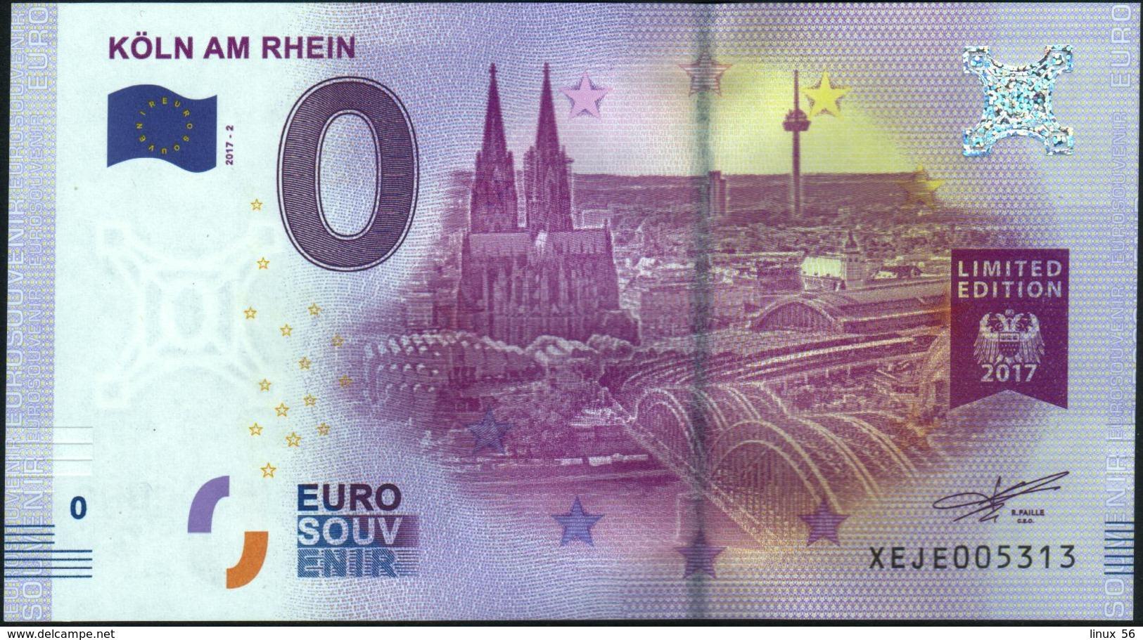 Zero - BILLET EURO O Souvenir - KOLN AM RHEIN 2017-2set UNC {Germany} - EURO