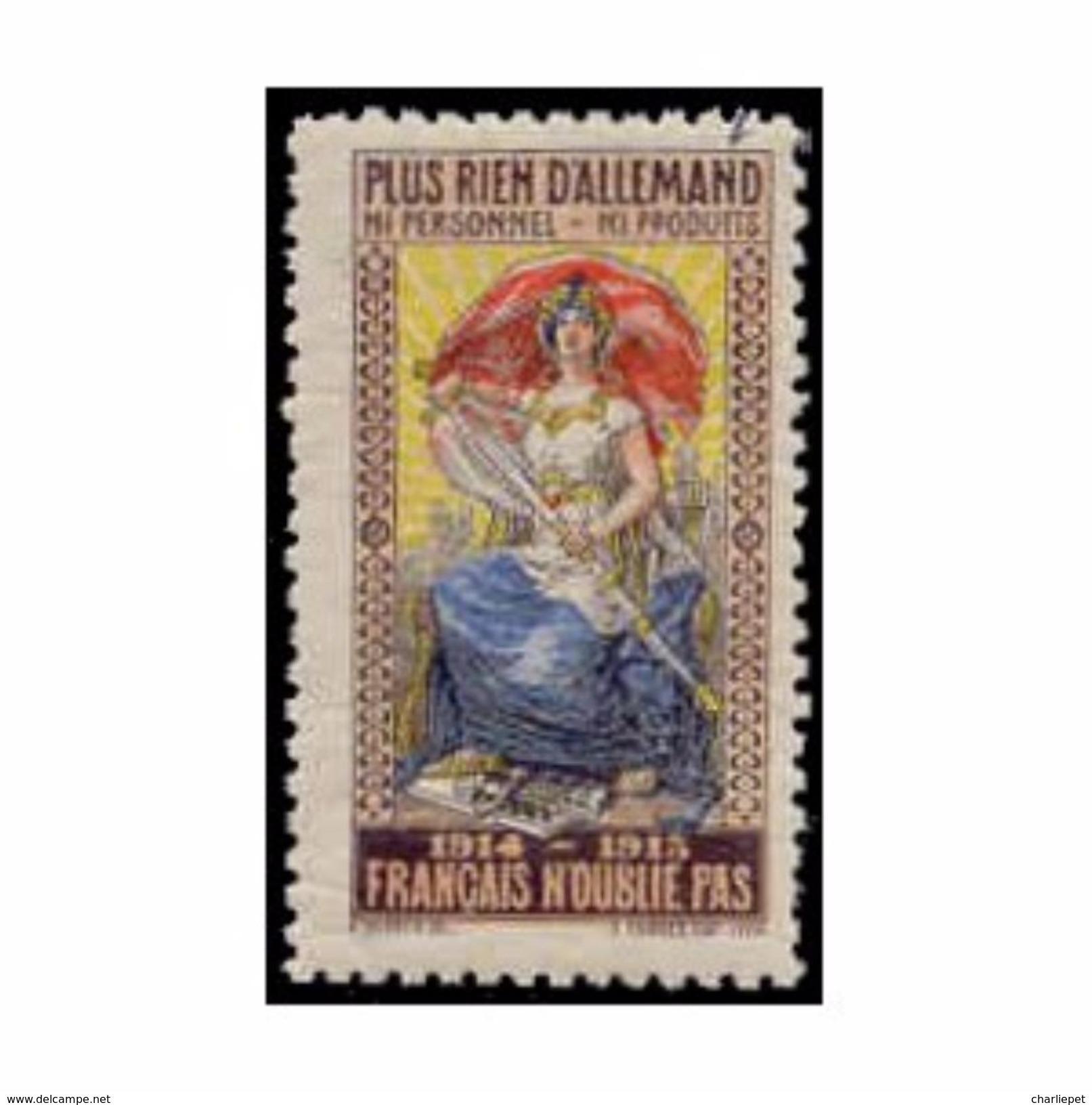 France WWI Plus Rien D'allemand  Stamps Vignette Poster Stamp - Erinnofilia
