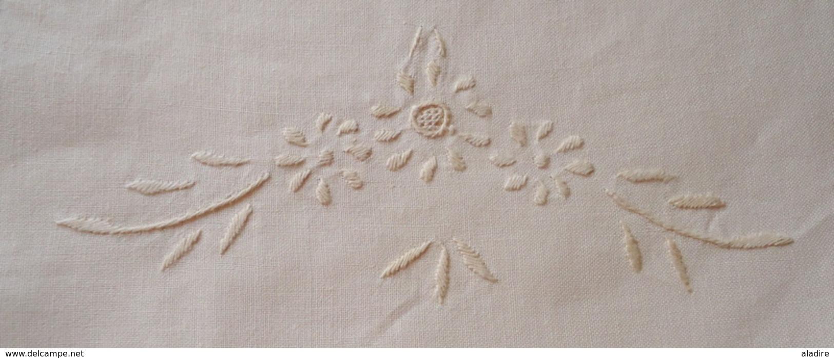 Nappe Rectangulaire 3 M X 1 M 70 Broderie, Dentelle Fait Main - Points De Chausson, Fronces Et Bourdons + 12 Serviettes - Laces & Cloth
