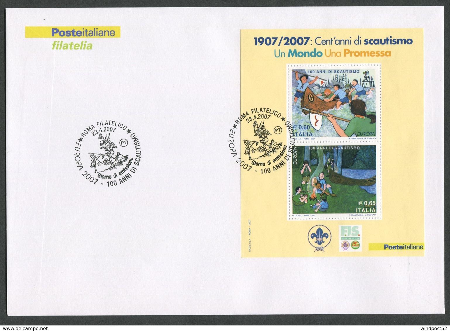 FDC ITALIA 2007 - BUSTONE CON FOGLIETTO - EUROPA CEPT 2007 - 100 ANNI DI SCAUTISMO - 287 - 6. 1946-.. Repubblica