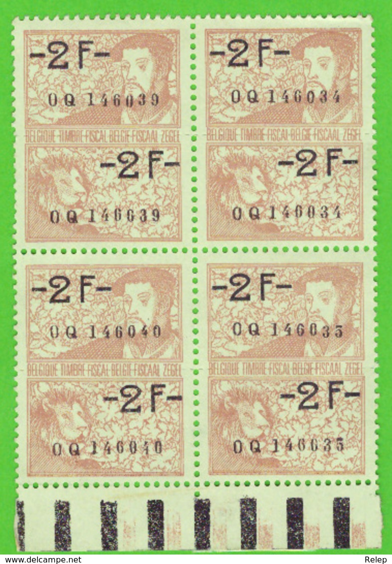 Belgique - Timbres Fiscaux  #  Fiscale Zegels 4 X 2 Fr - Revenue Stamps