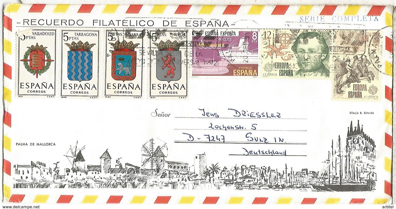 SOBRE TURISTICO PALMA MALLORCA  ESCUDOS ARMS EUROPA CEPT - 1931-Hoy: 2ª República - ... Juan Carlos I