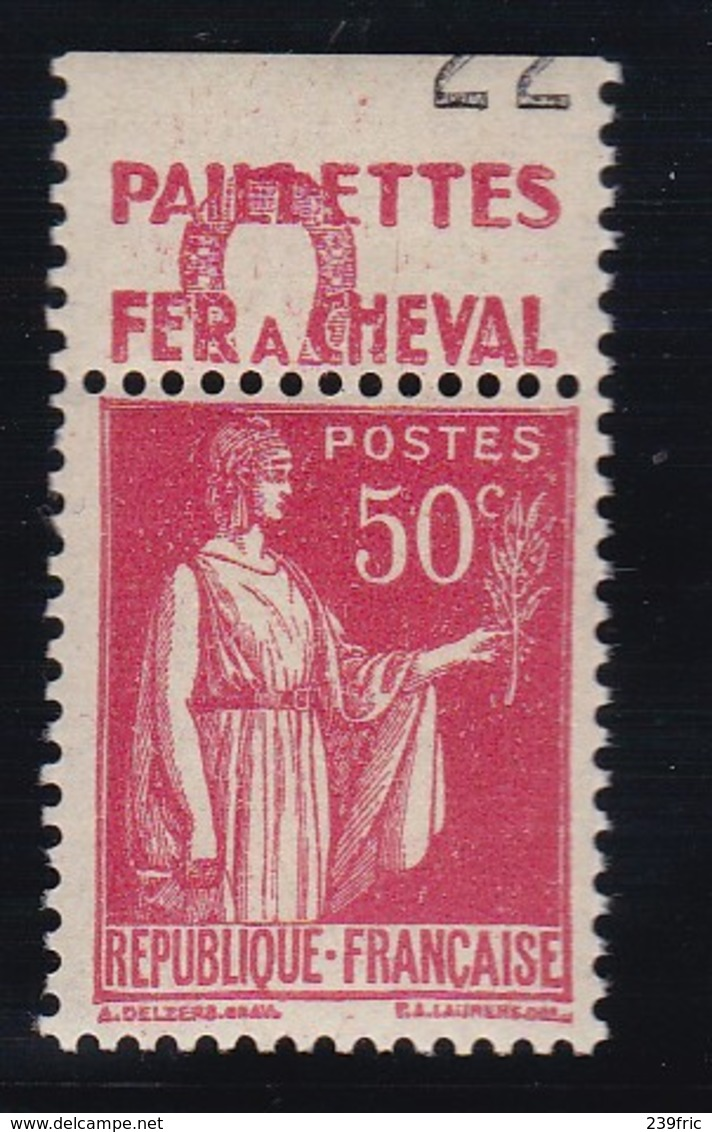 PUBLICITE: TYPE PAIX 50C ROUGE FER A CHEVAL-paillettes ACCP 801 NEUF* - Advertising