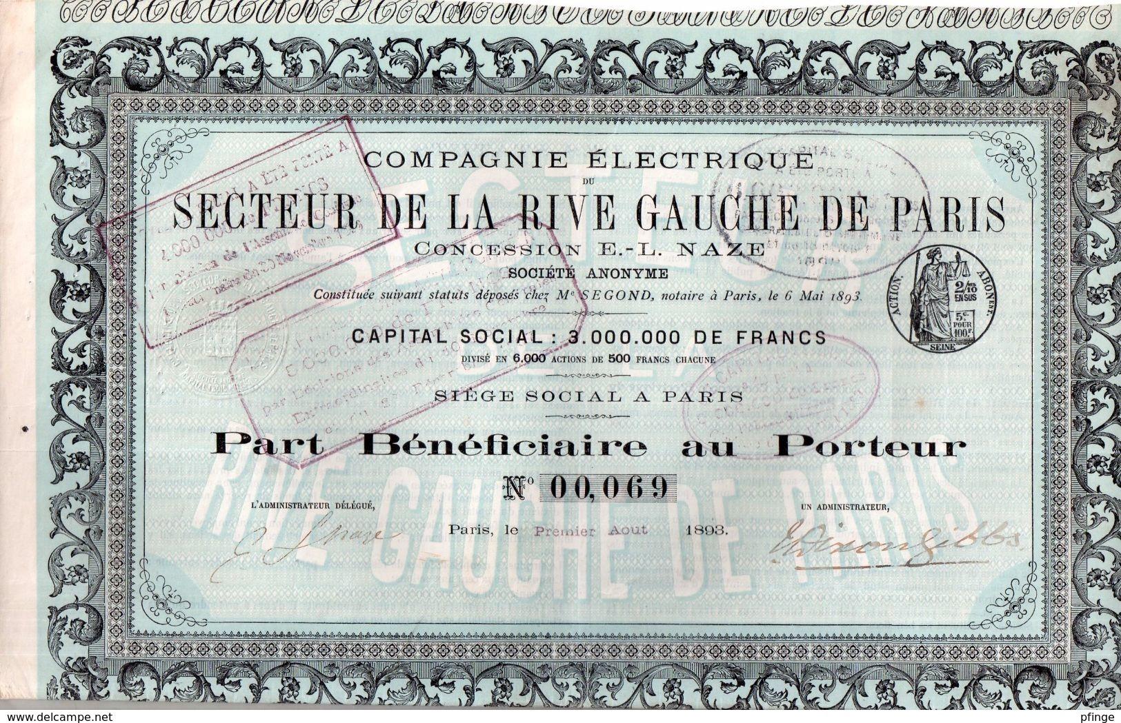Compagnie Electrique - Secteur De La Rive Gauche De Paris - Part Bénéficiaire Au Porteur - Electricité & Gaz