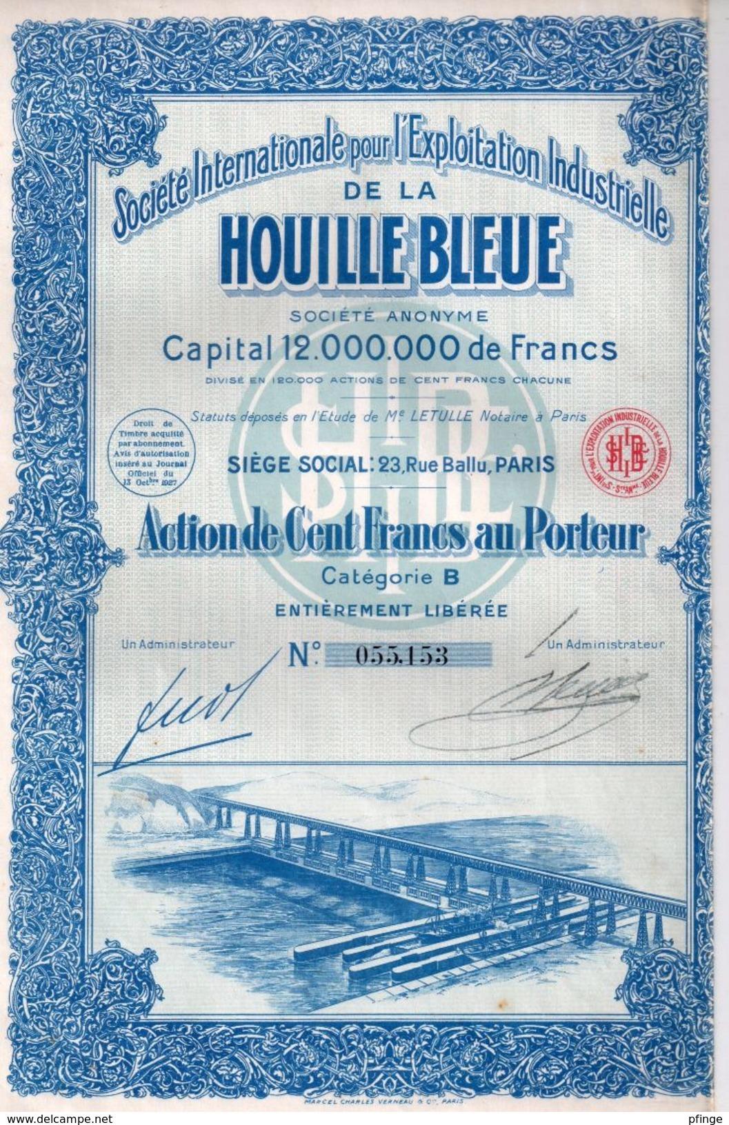 Société Internationale Pour L'Exploitation Industrielle De La Houille Bleue - Action De Cent Francs Au Porteur - Electricité & Gaz
