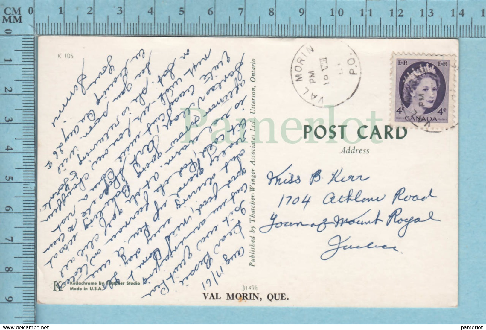 Val Morin  Quebec -Riviere , Homme Et Femme+ Posté En 1961 +timbre CND -post Card Carte Postale - Quebec