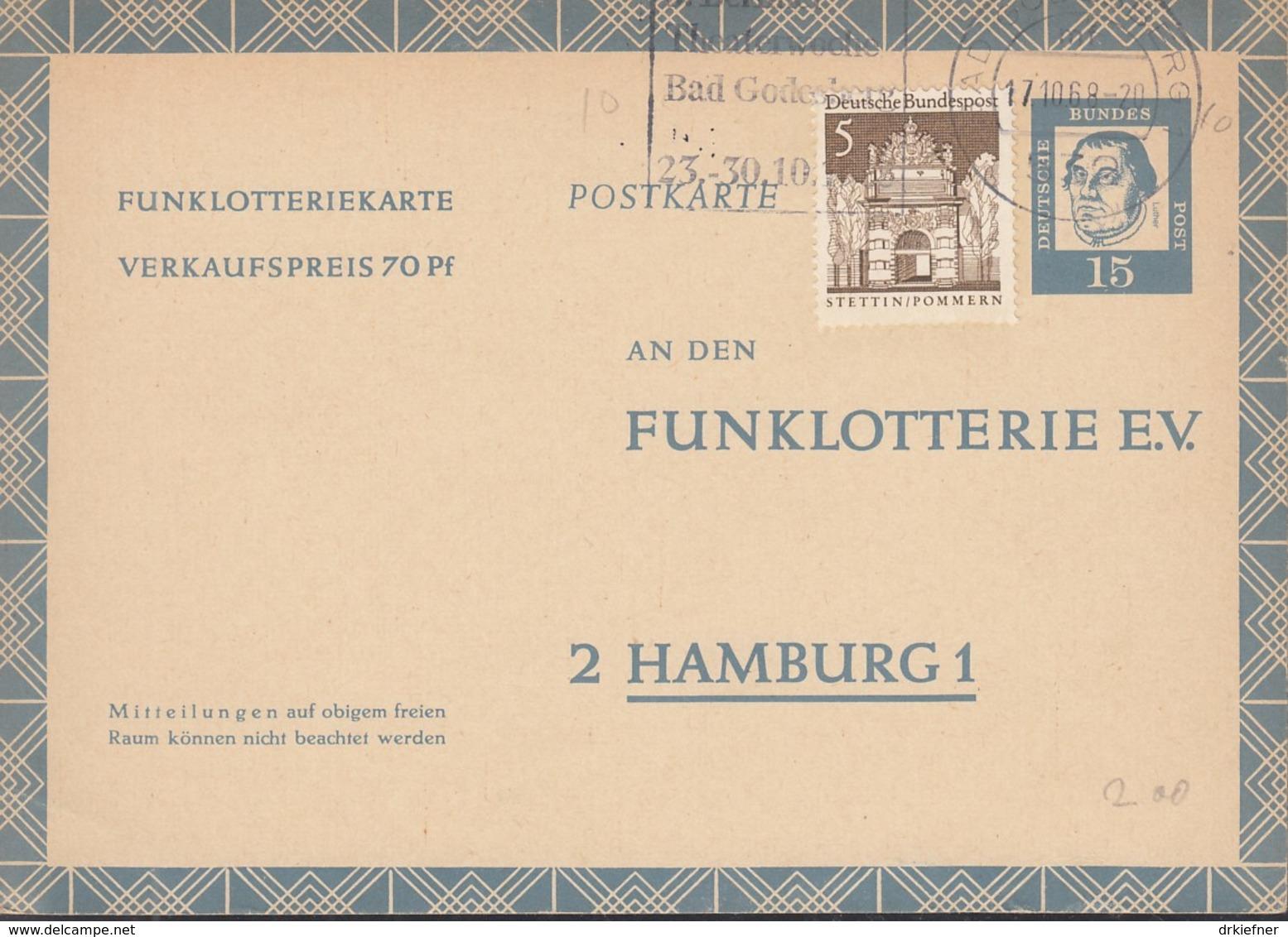 BRD  FP 10, Mit ZFr. Gestempelt: Bad Godesberg 1968, Funklotteriekarte 1963 - [7] République Fédérale