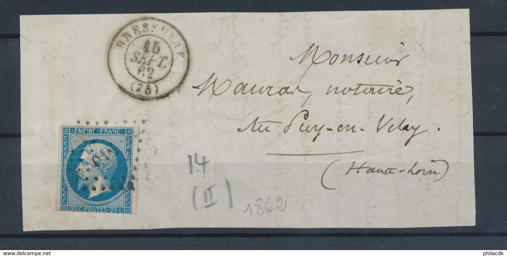 FRANCE - N°YT 14B OBLITERE SUR DEVANT DE LETTRE PC 510 BRESSUIRE FINISTERE CAD DU 15/9/1862 - 1853-1860 Napoléon III