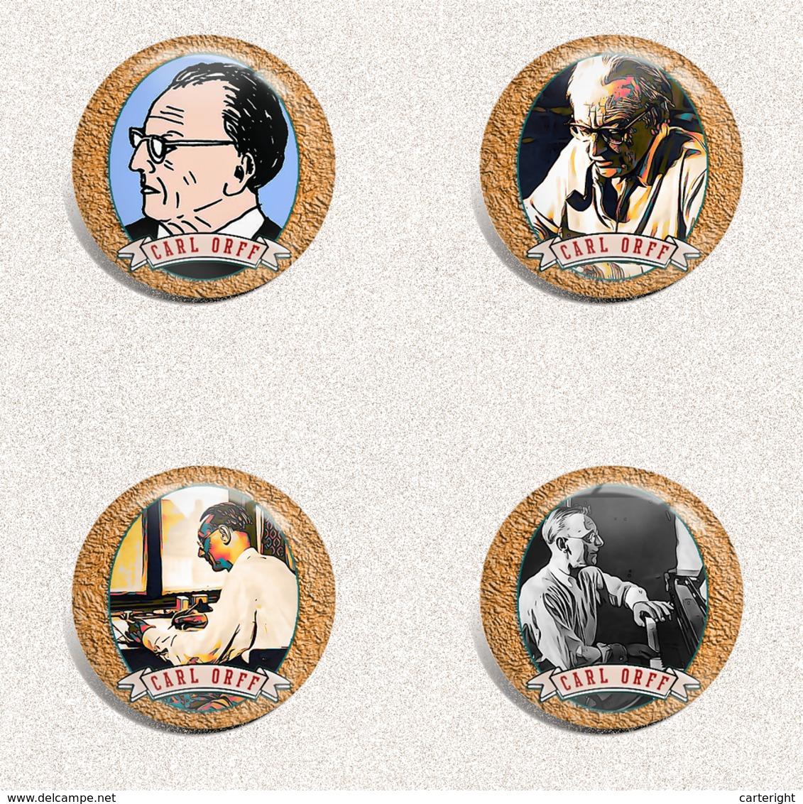 Musician Carl Orff  Fan ART BADGE BUTTON PIN SET 2 (1inch/25mm Diameter) 35 X - Musik