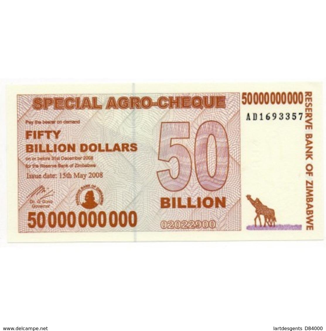 Zimbabwe 50 Billion Dollars 15 May 2008 Pick 63 - Non Classés