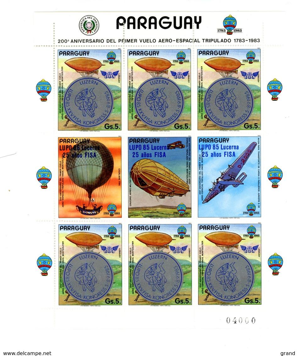 Paraguay 1985-Montgolfière, Avion,Surcharge Congrès FISA MI 3704***MNH-La Feuille - Airships