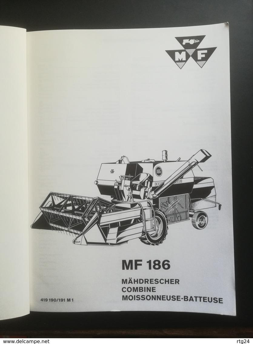 MASSEY - FERGUSON .MOISSONNEUSE-BATTEUSE  . TYPE MF 186.CATALOGUE PIECES DE RECHANGE DE 1969. TRES BON ETAT. - Machines