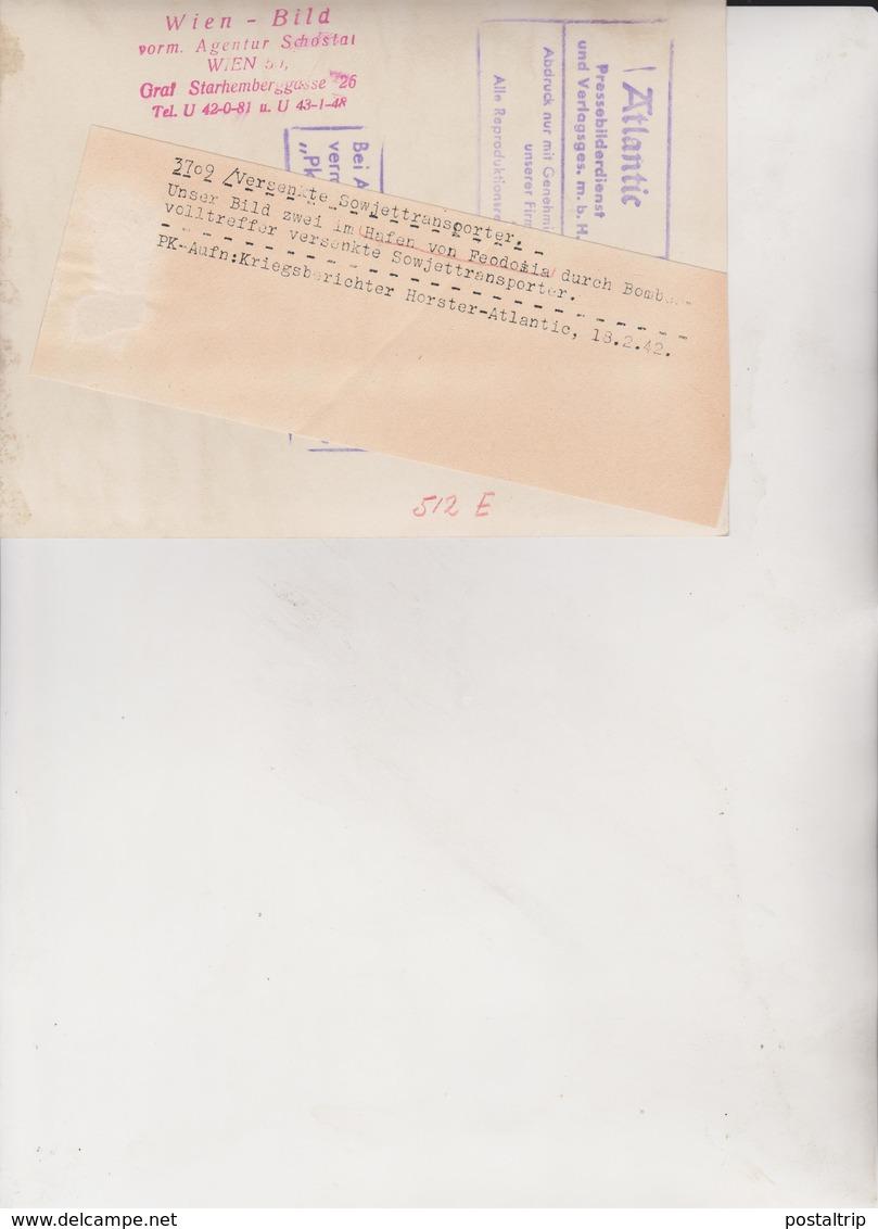 HAFEN VON FEODOSIA RUSSIA SOWJETTRANSPORTER  FOTO DE PRESSE WW2 WWII WORLD WAR 2 WELTKRIEG Aleman Deutchland - Lugares