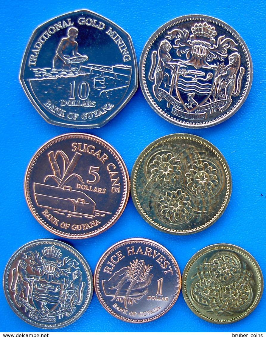 GUIANA SERIE 7 MONETE 10-5 1- DOLLARO 25-10-5-1 CENT.FDC UNC - Guyana