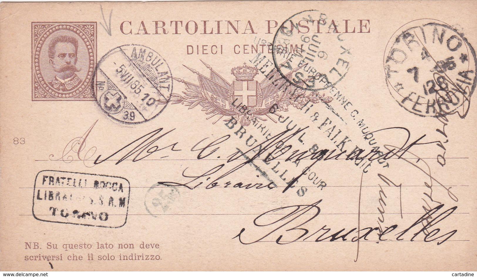 Entier Postal Stationery - Italia / Italie - Ambulant - Ferrovia - 1885 - 1878-00 Umberto I