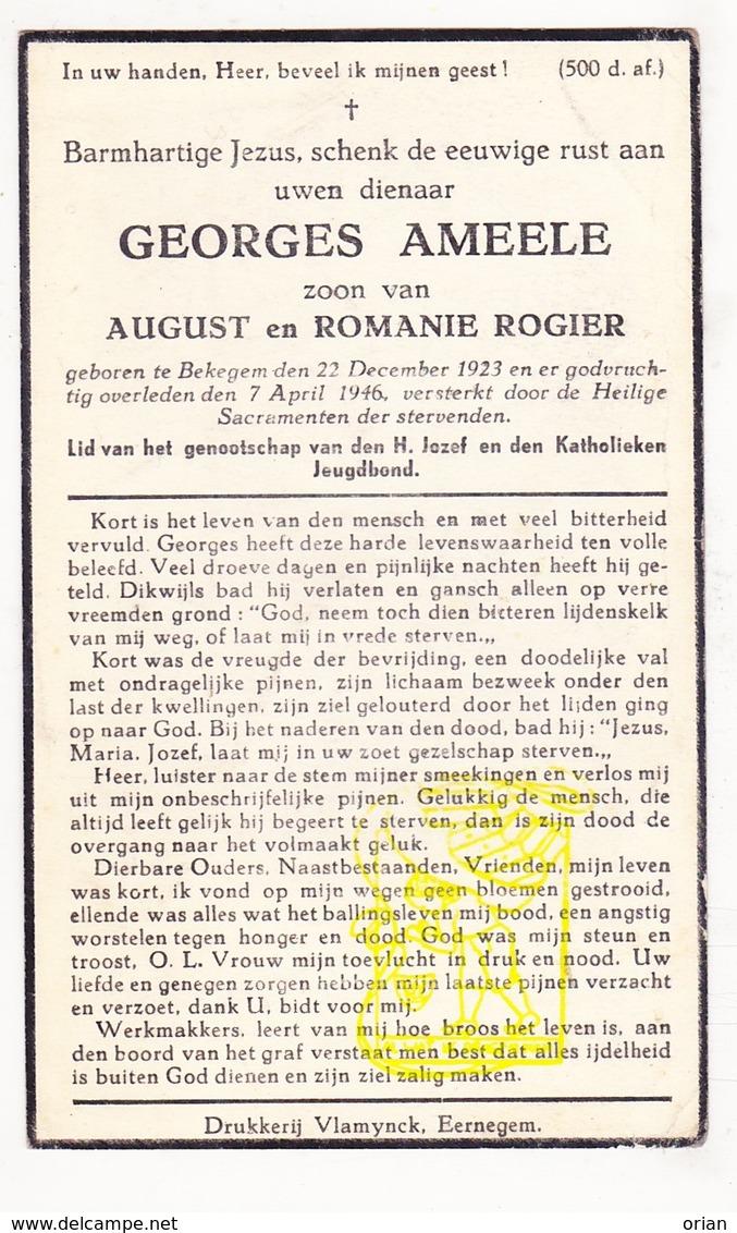 DP Georges Ameele / Rogier * 22j. * ° Bekegem Ichtegem 1923 † 1946 - Devotion Images