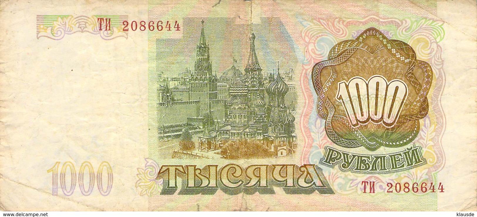 1000 Rubel Banknote Rußland 1993 - Russland