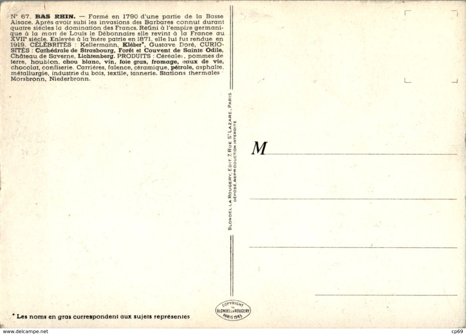 PINCHON Année 1945 Département Du Bas-Rhin (67) Strasbourg Sélestat Saverne Haguenau Wissembourg Erstein Schirmeck TB.E - France
