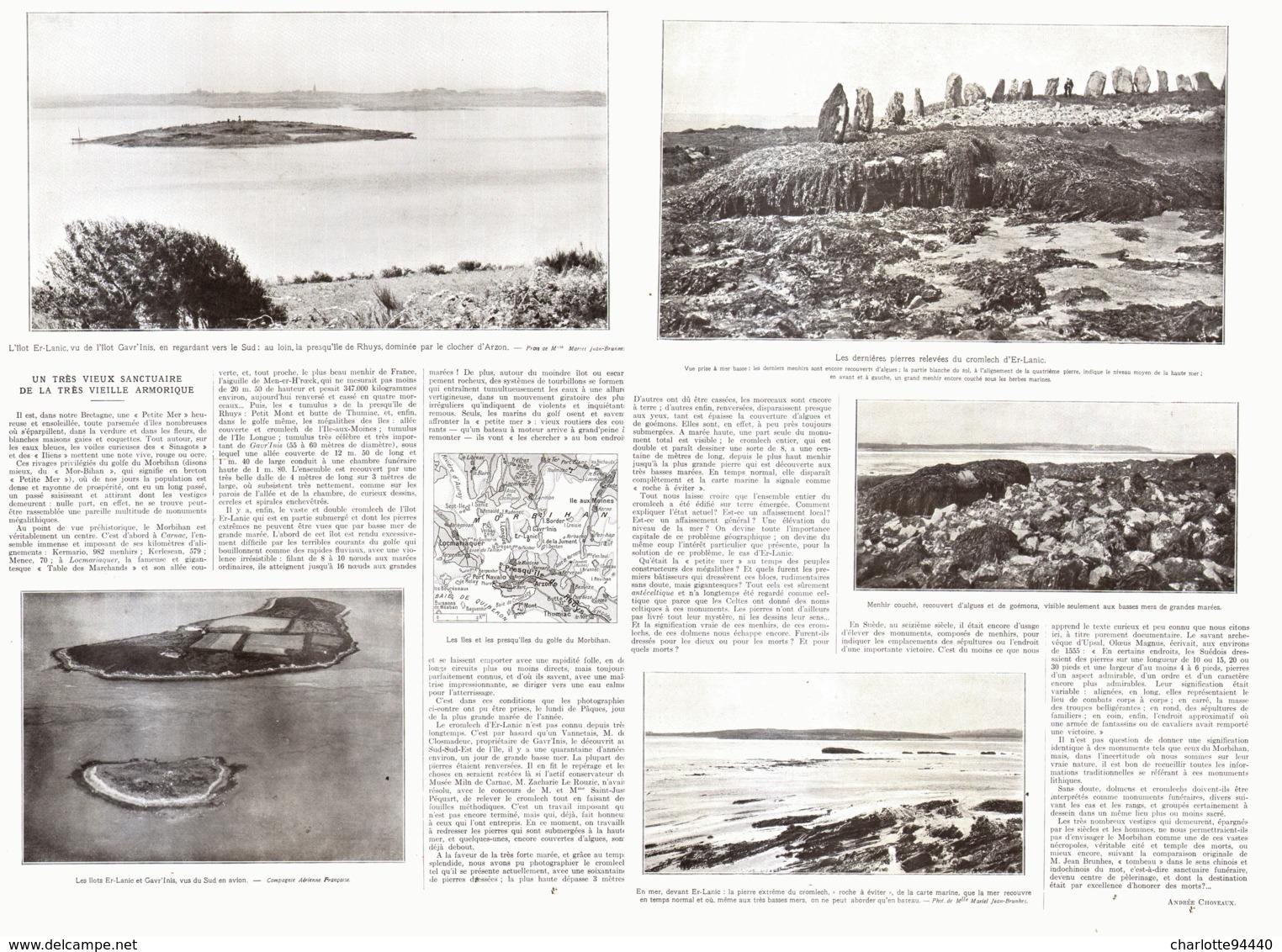 "MENHIRS-PIERRES-LEVEES Sur Les Iles BRETONNES  De ""  ER-LANIC / GAVR'INIS ""  1924 - Bretagne"