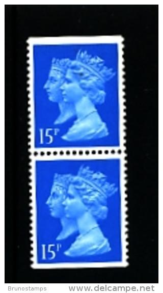 GREAT BRITAIN - 1990  DOUBLE HEADS  15p. CB HARRISON  PAIR  IMPERF. TOP & BOTTOM  MINT NH  SG 1467 - 1952-.... (Elisabetta II)