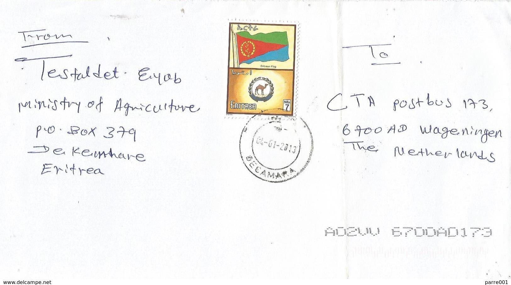 Eritrea 2013 Decamara Dromedaris Camel Flag Cover - Eritrea