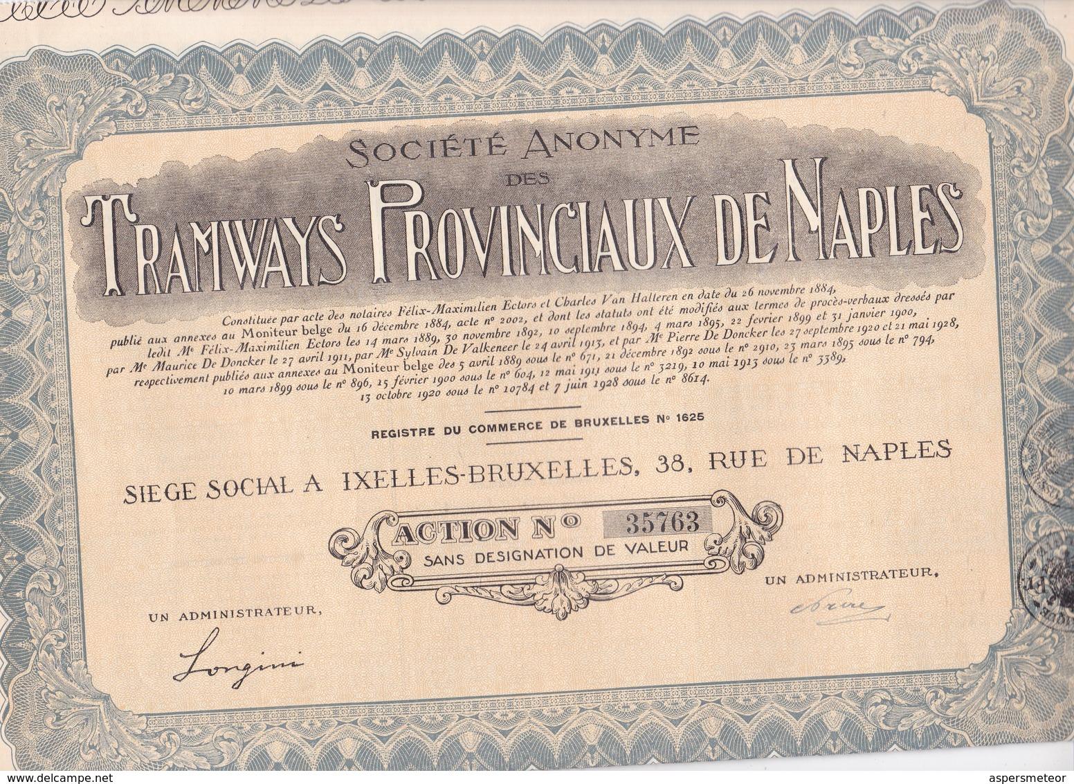 ACCION ACTIONS TRAMWAYS PROVINCIAUX DE NAPLES ACIONS SANS DESIGNATIOND E VALEUR SIGNE. AN 1946-RARE- BLEUP - Chemin De Fer & Tramway