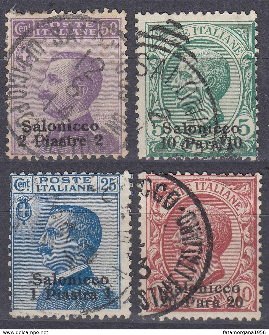 SALONICCO - 1909 - Lotto Di 4 Valori Usati: Unificato 1, 2, 4 E 5. - Buitenlandse Kantoren