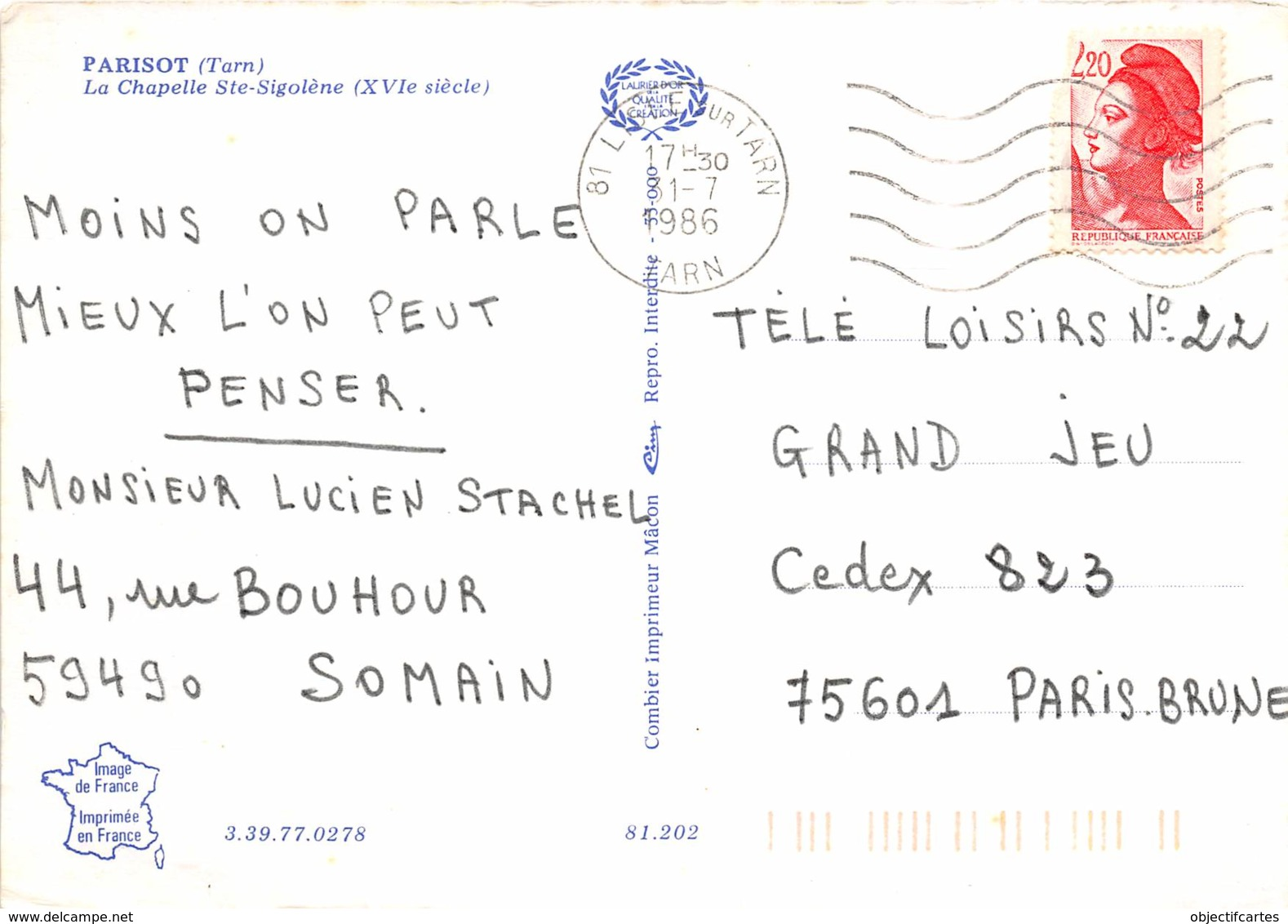 PARISOT La Chapelle Ste Sigolene 9(scan Recto-verso) MA2053 - Francia