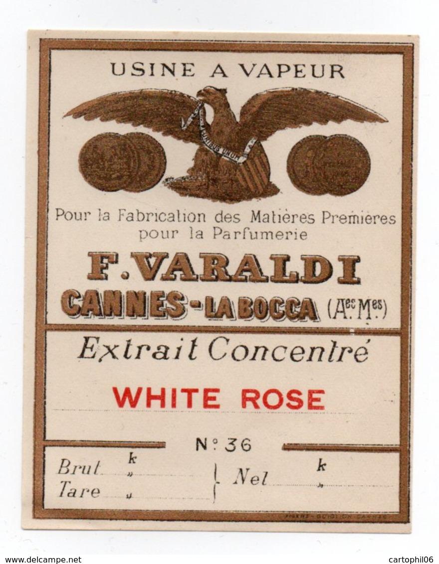 - PARFUMERIE - USINE A VAPEUR - F. VARALDI - CANNES-LA-BOCCA - Extrait Concentré WHITE ROSE - - Labels
