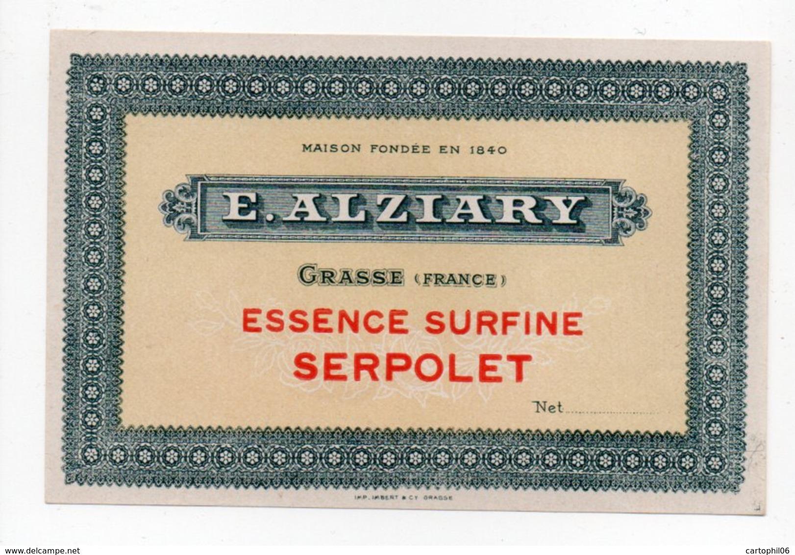 - PARFUMERIE - E. ALZIARY - GRASSE - ESSENCE SURFINE SERPOLET - - Labels