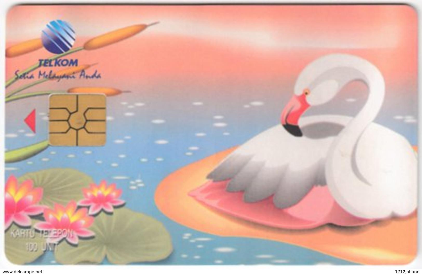 INDONESIA A-273 Chip Telekom - Painting, Animal, Bird, Flamengo - Used - Indonesien