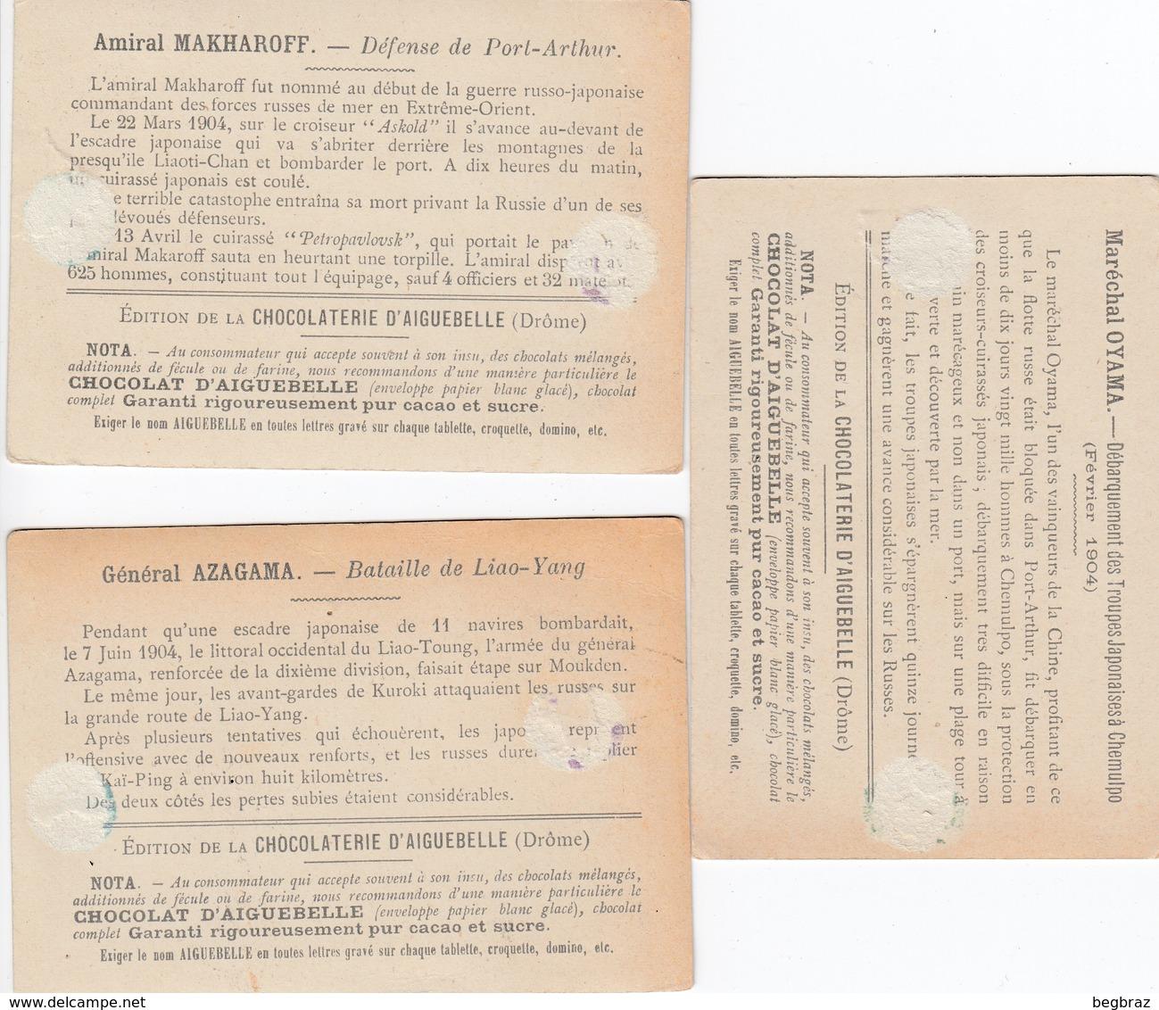 3 CHROMOS  CHOCOLAT AIGUEBELLE  MILITAIRE  GUERRE - Aiguebelle