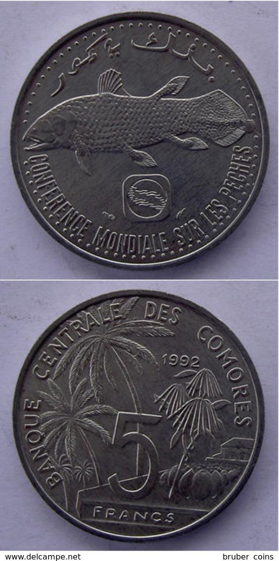 COMORES COMORRE  5 FRANCS 1992 FISH PESCE FDC. - Comorre