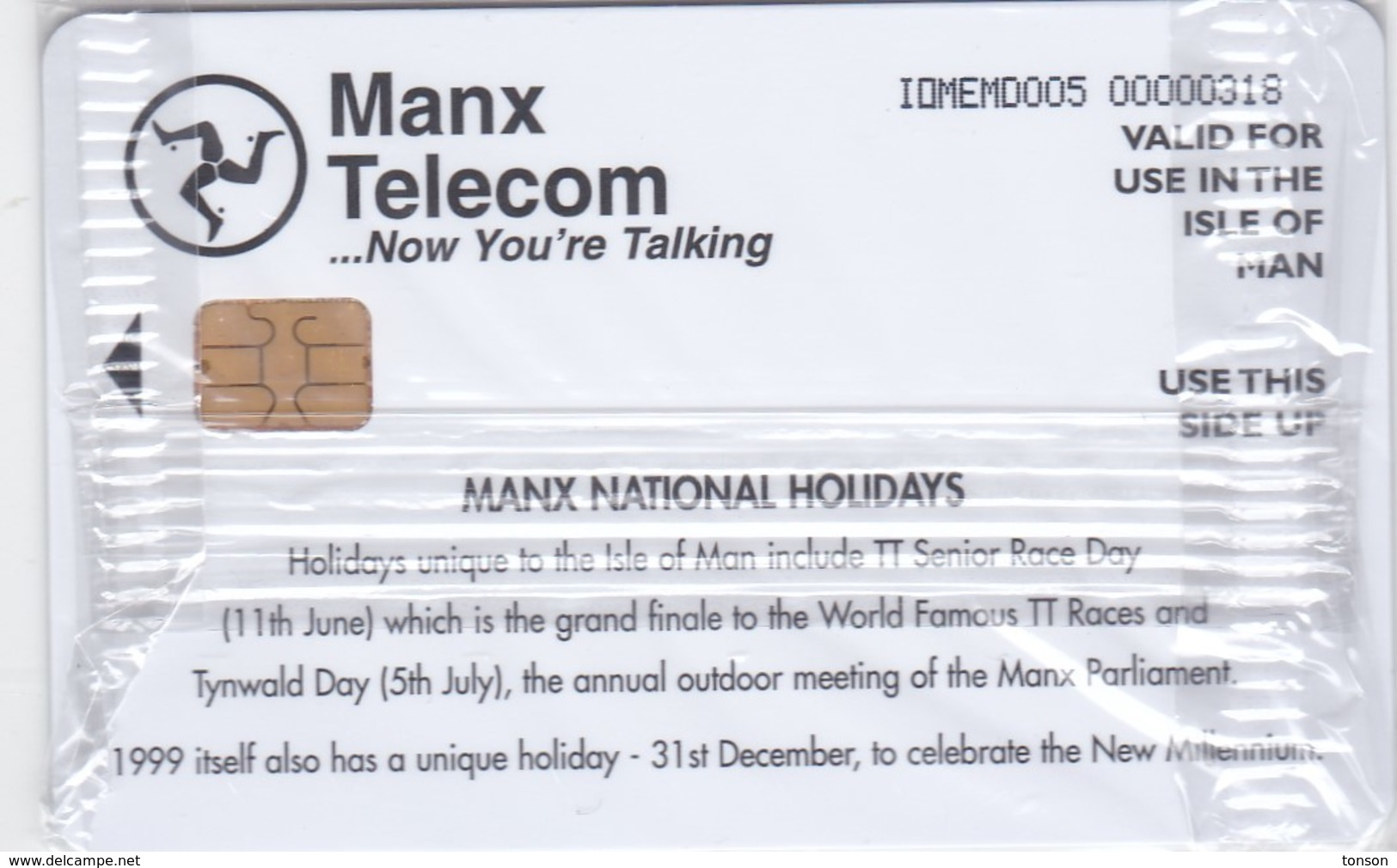 Isle Of Man, MAN 125, 1998 Calendar - Manx National Holidays, Mint In Blister2 Scans. - Isla De Man