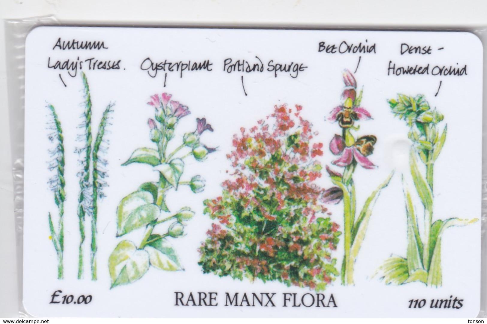 Isle Of Man, MAN 101,  10 £, Rare Manx Flora, Mint In Blister, 2 Scans. - Isla De Man