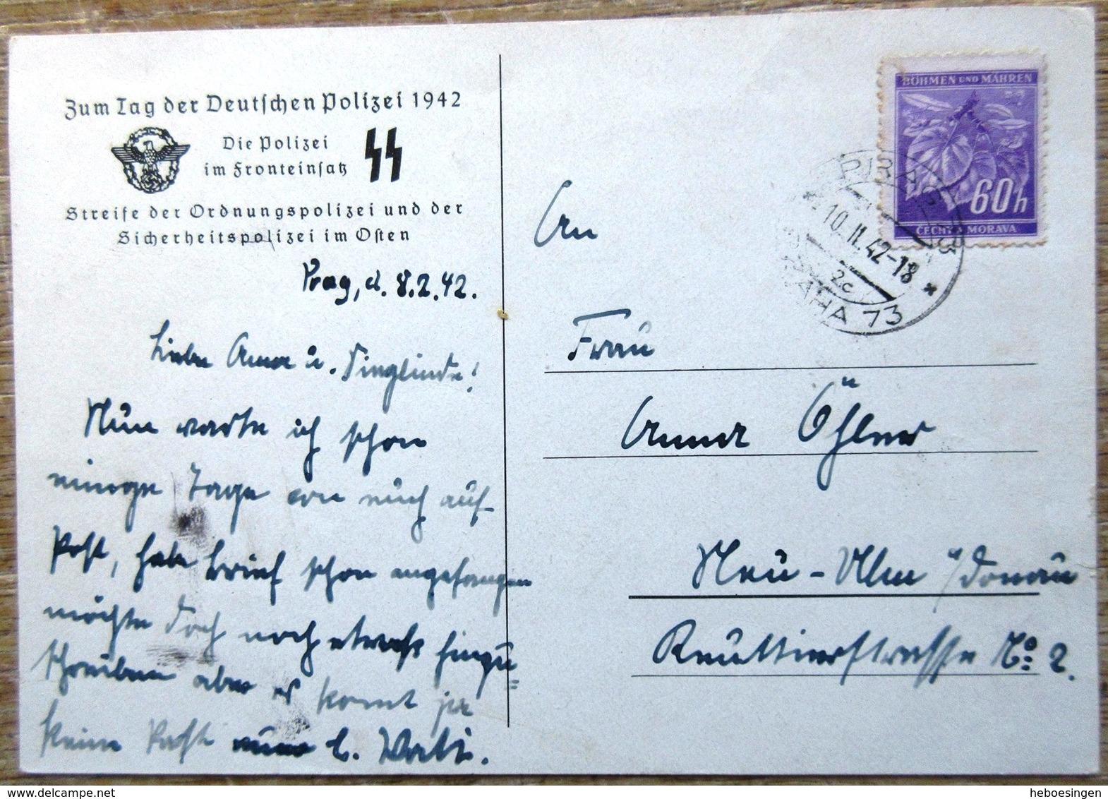 DR Postkarte Aus Böhmen & Mähren Die Polizei Im Fronteinsatz Gelaufen Stempel Prag - Besetzungen 1938-45
