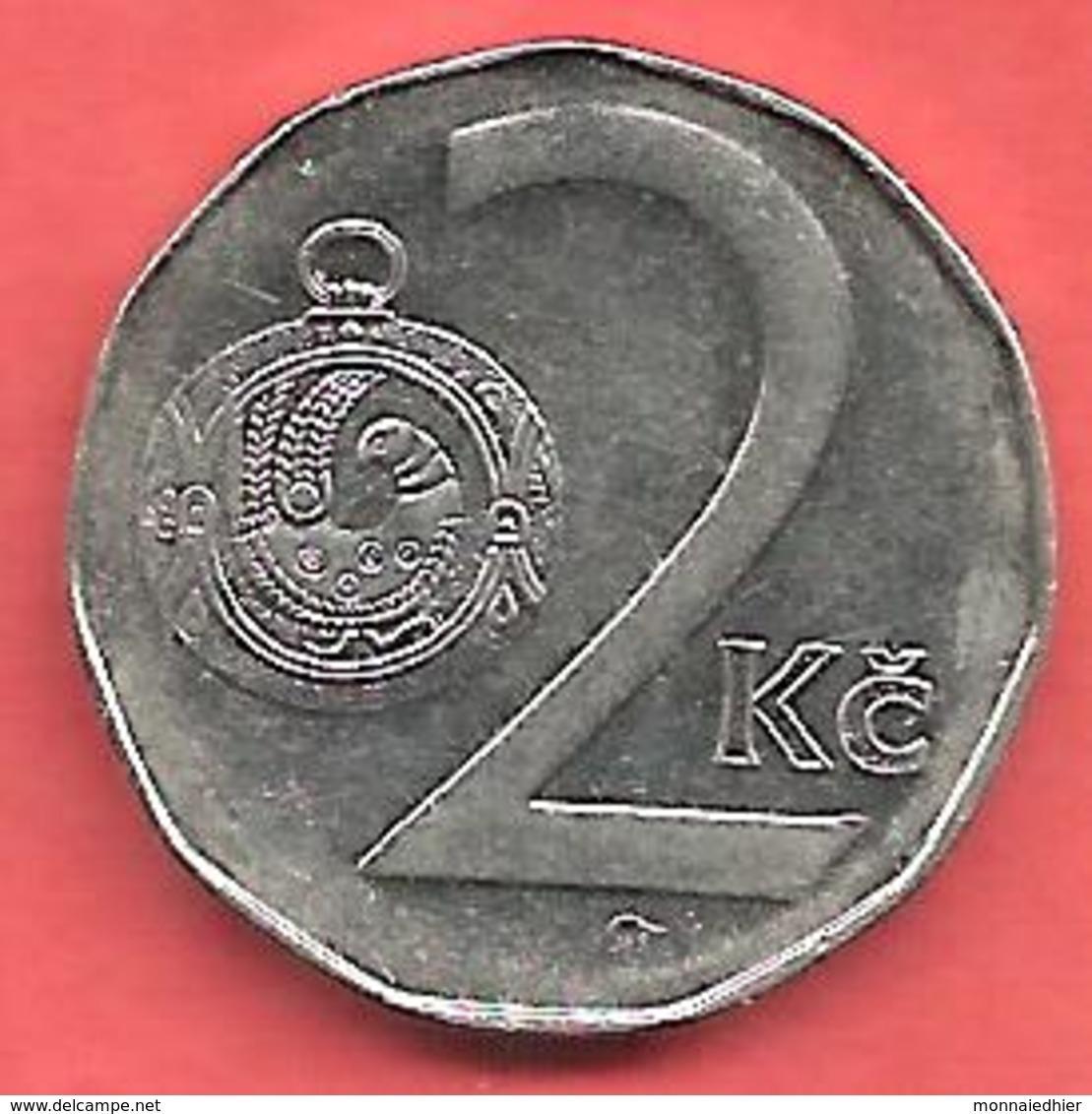2 Korun , République TCHEQUE , Acier Nickelé , 1994 , N° KM # 9 - Tchéquie