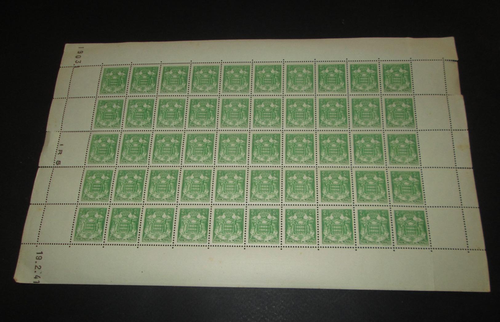 Timbre Monaco NEUF** N° 155 Armoiries  Avec Coin Daté Feuille Complète - Feuilles Complètes