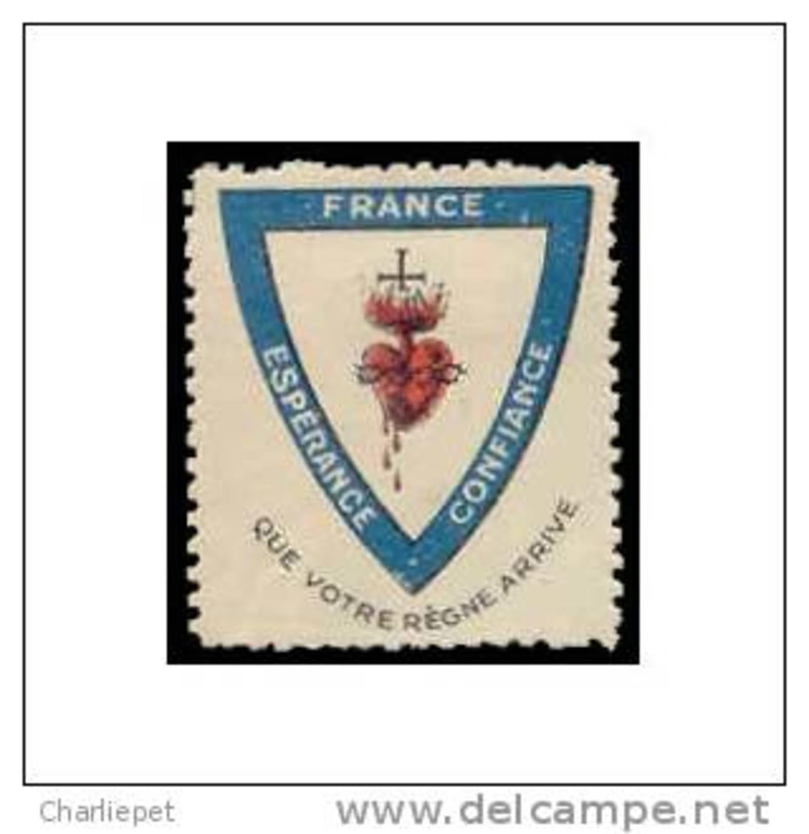France - Esperance - Confiance WWI Vignette  Military Heritage Poster Stamp - Commemorative Labels