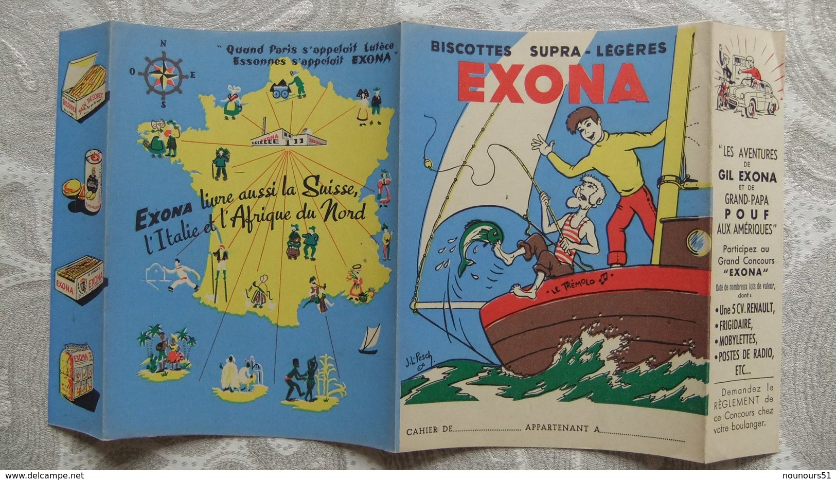 Année 60 Protège Cahier  BISCOTTES EXONA - Protège-cahiers