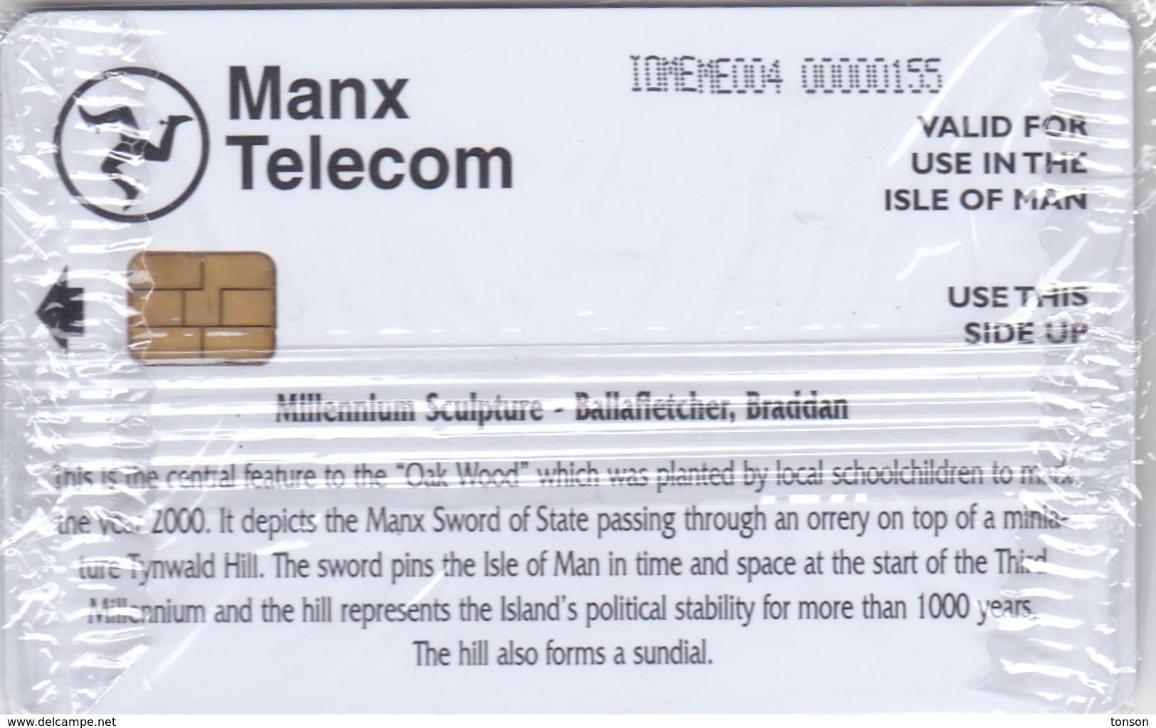 Isle Of Man, MAN 169, £10, Millenium Sculpture, Sword, Globe, Mint In Blister, 2 Scans. - Man (Eiland)