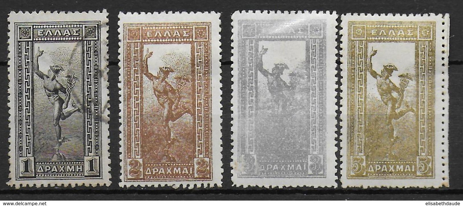 GRECE - 1901 - YVERT N°156/159 */OBLITERE - COTE = 47 EUR. - 1901-02 Mercure Volant & AM