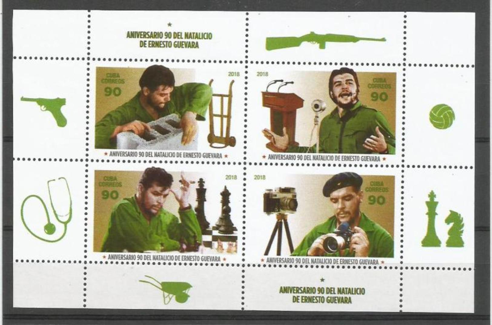Cuba 2018 90th Anniversary Of Ernesto Che Guevara's Birthdate M/S MNH - Echecs