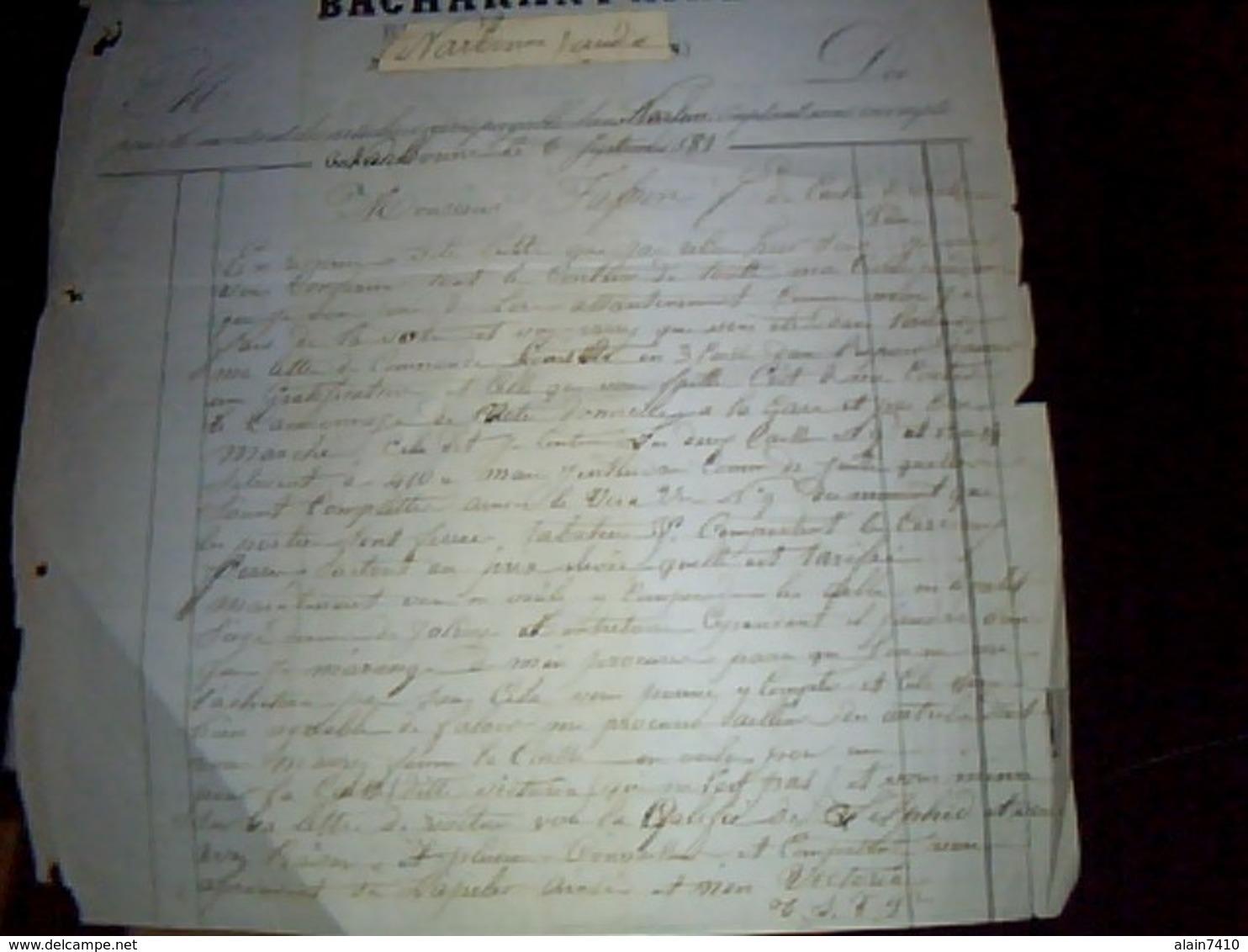 Facture TRES ANCIENNE Bacharant Ainè  Magasin De Voitures Confectionèes A Narbonne Annèe 1881 - France
