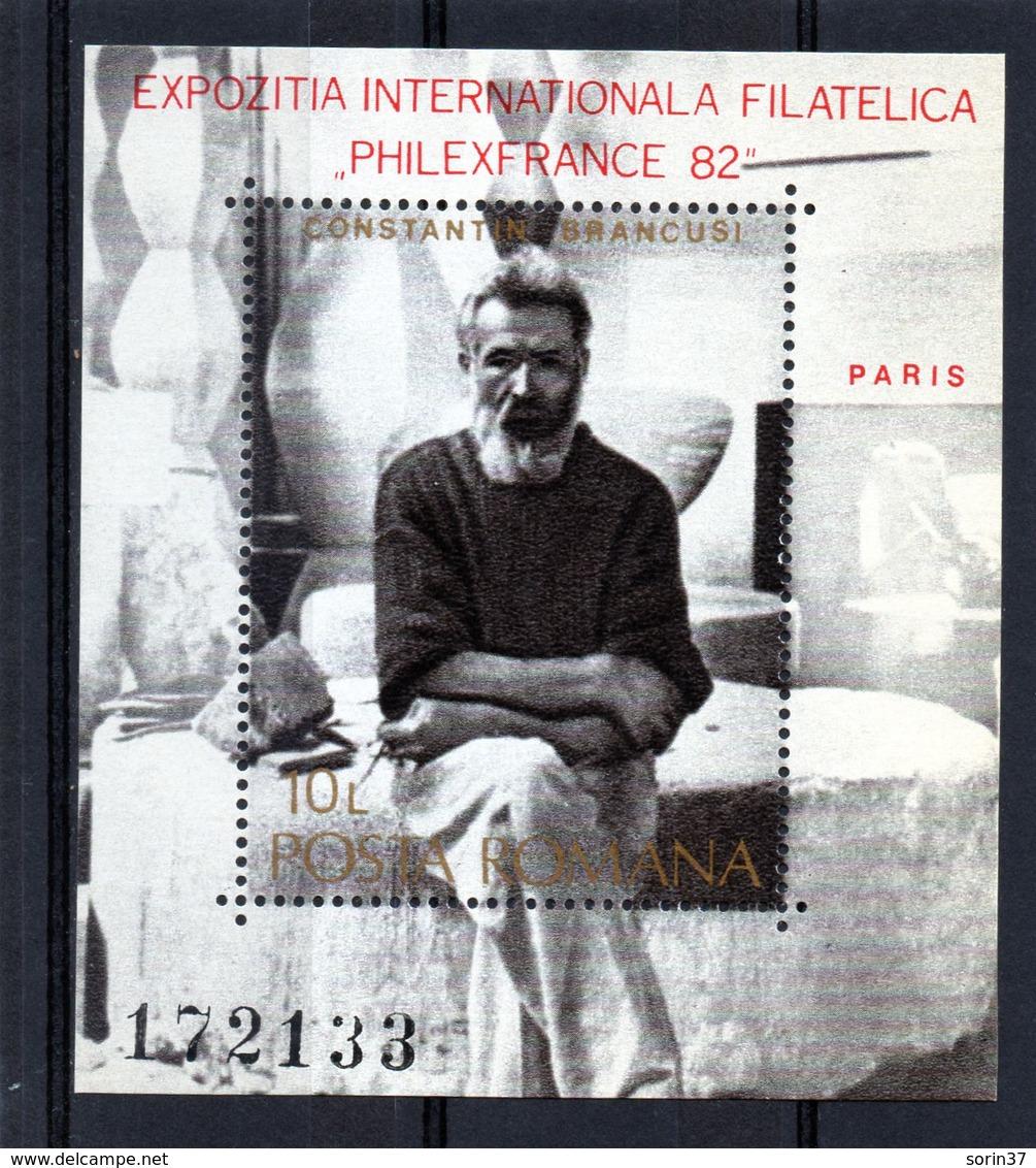 ++ HB RUMANIA / ROMANIA / ROEMENIE Año 1982 Yvert Nr.155 Nueva Constantin Brancusi - Hojas Bloque