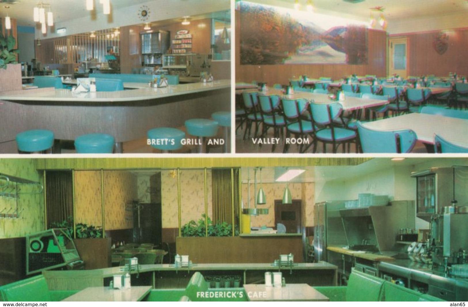 Mankato Minnesota, Happy Chef Fredericks Cafe, Bretts Grill & Valley Room Restaurants Interior, C1960s Vintage Postcard - United States