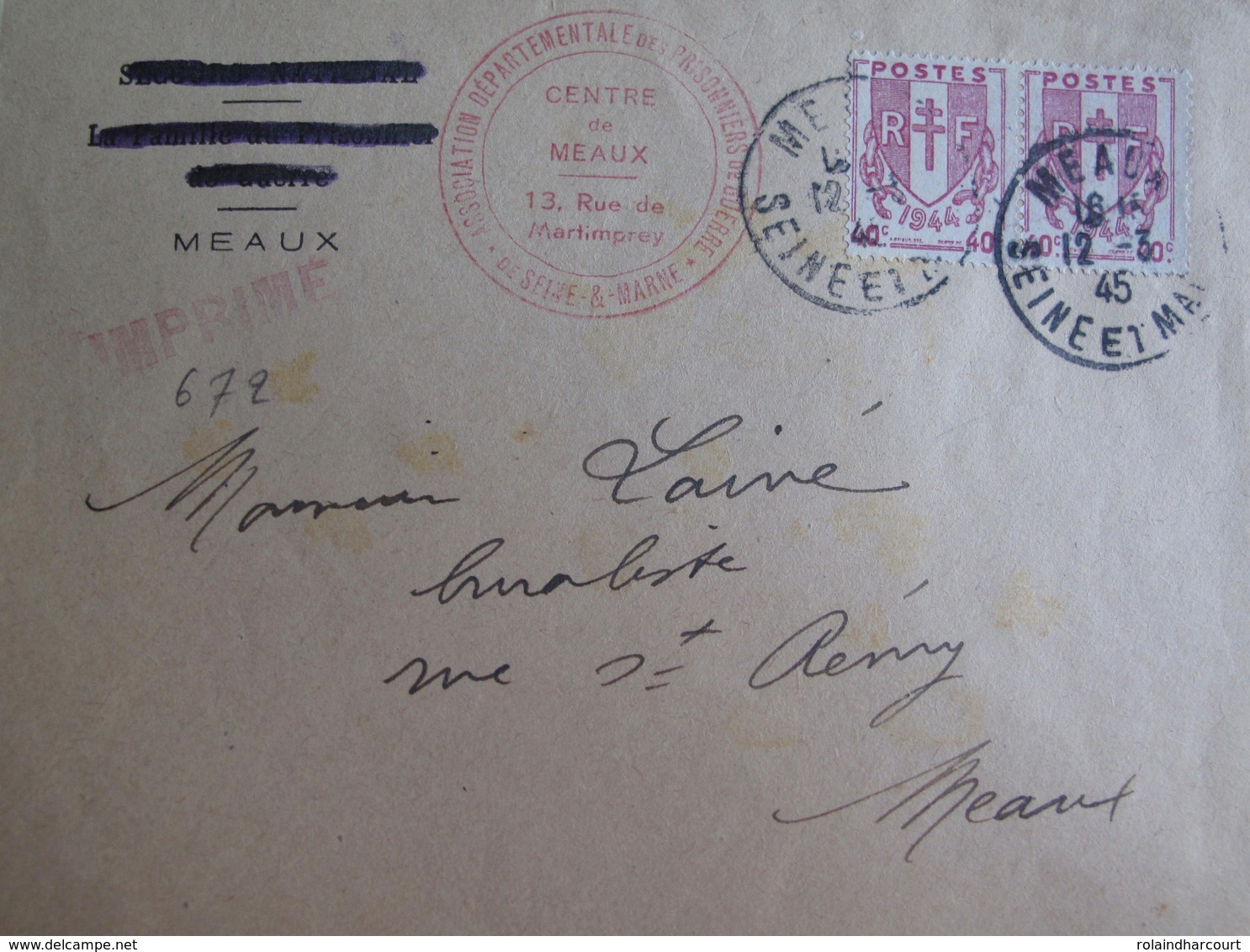 R1949/60 - 1945 - TYPE CHAÎNES BRISEES - (PAIRE) N°672 Sur ✉️ ASSOCIATION DEPARTEMENTALE DES PRISONNIERS DE GUERRE - France