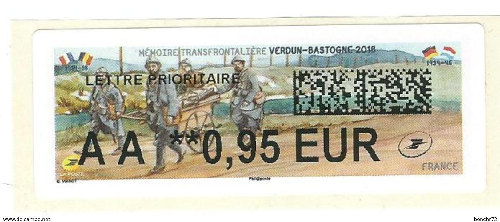 VIGNETTE LISA 2 - 2018 - Mémoire Transfrontalière VERDUN-BASTOGNE - MENTION AA 0.95 EUR - NEUF - 2010-... Vignette Illustrate